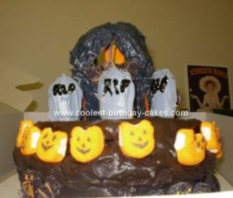 Homemade Haunted House Cake
