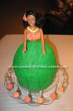 Homemade Hawaiian Doll Birthday Cake Design