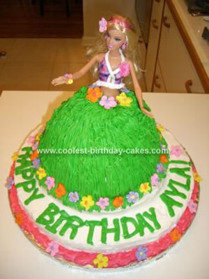 Homemade Hawaiian Hula Girl Cake