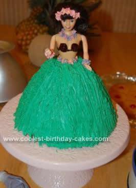 Homemade Hawaiian Luau Hula Doll Cake