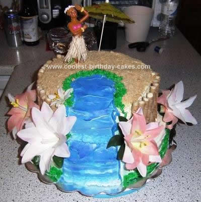 Homemade Hawaiian Themed Cake