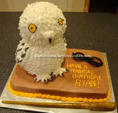 Homemade Hedwig the Owl Cake
