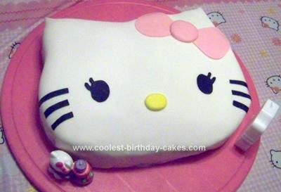 Homemade Hello Kitty 1st Birthday Cake