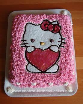 Homemade Hello Kitty Mustache Cake