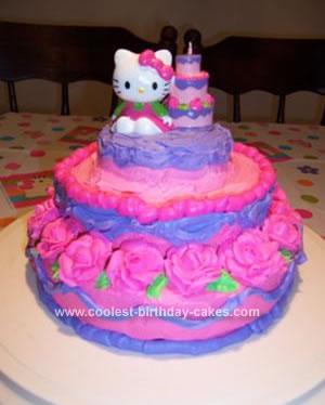Homemade Hello Kitty Rose Birthday Cake