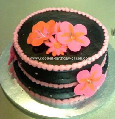 Homemade Hibiscus Flower Birthday Cake Design