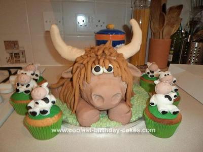 Homemade Highland Cow Birthday Cake