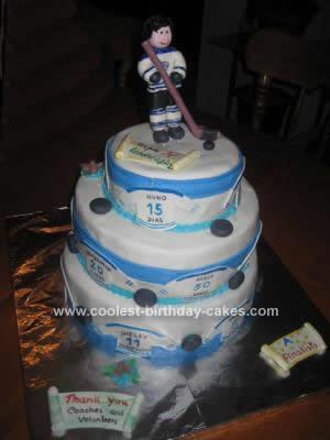 Homemade Hockey Themed Cake