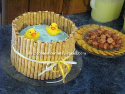 Homemade Ducks Baby Shower Cake