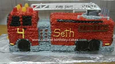 Homemade Firetruck Birthday Cake