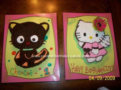 Homemade Hello Kitty and ChocoCat Birthday Cake