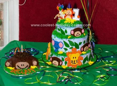 Surprising Coolest Homemade Jungle Themed 1St Birthday Cake Funny Birthday Cards Online Chimdamsfinfo