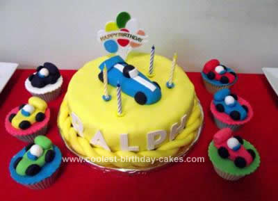 Homemade Racing Car Cake