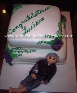 Wine-themed retirement cake