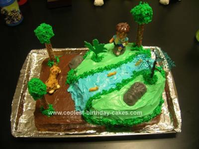 Homemade Go Diego Go Waterfall Birthday Cake