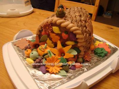 Homemade Horn of Plenty Thanksgiving Cake