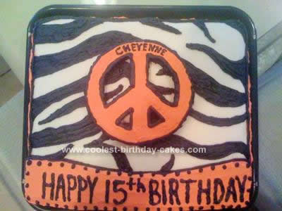 Homemade Hot Pink Zebra Peace Sign Birthday Cake