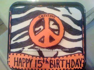 Homemade Hot Pink Zebra Peace Sign Birthday Cake