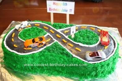 Homemade Hot Wheels on the Road Kids Birthday Cake