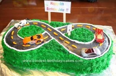 Homemade Hot Wheels on the Road Kids Birthday Cake