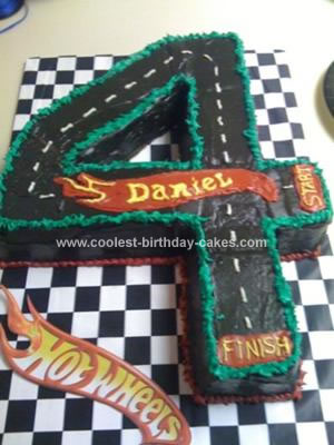 Homemade Hotwheels 4th Birthday Race Track Cake