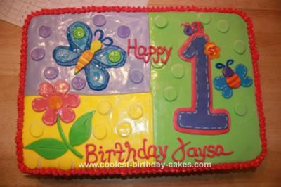 Homemade Hugs and Stitches 1st Birthday Cake