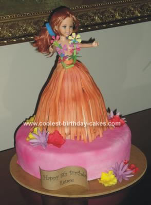 Homemade Hula Dancer Birthday Cake
