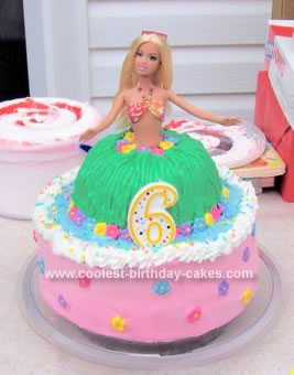 Homemade Hula Girl Birthday Cake