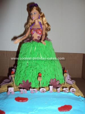 Homemade Hula Girl Birthday Cake