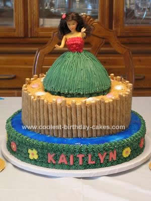 Homemade Hula Girl Luau Birthday Cake