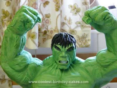 Homemade Hulk Birthday Cake