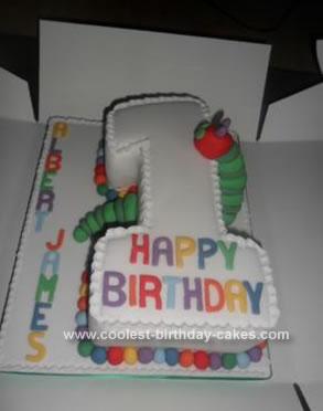 Super Coolest Homemade Hungry Caterpillar 1St Birthday Cake Personalised Birthday Cards Veneteletsinfo