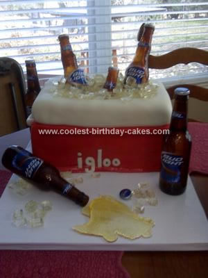Homemade  Ice Chest Filled with Beer Cake