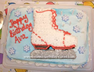 Homemade Ice Skate Birthday Cake Design