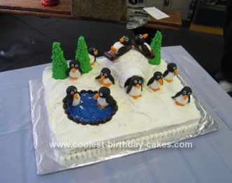 Homemade Ice Skating Penguin Igloo Cake