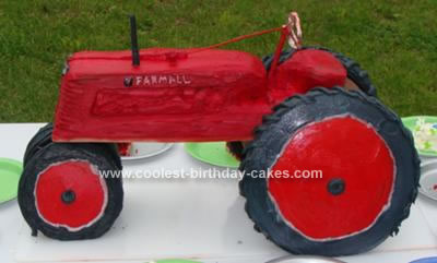 Homemade IH Tractor Graduation Cake