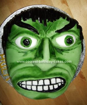 Homemade Incredible Hulk Birthday Cake