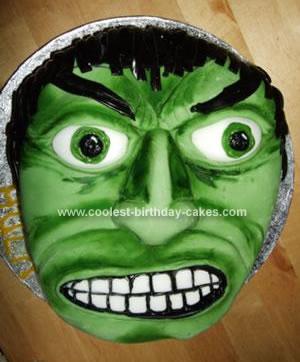 Homemade Incredible Hulk Birthday Cake