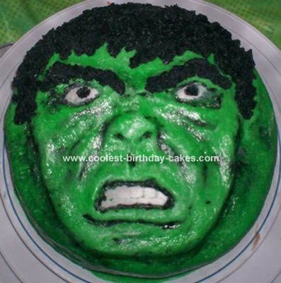 Wondrous Cool Homemade Incredible Hulk Cake Funny Birthday Cards Online Chimdamsfinfo