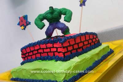 Homemade Incredible Hulk Cake