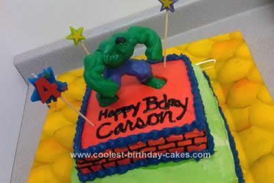 Homemade Incredible Hulk Cake