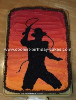 Indiana Jones Silhouette in the Sunset Cake