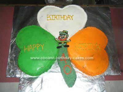 Homemade Irish Themed Birthday Cake