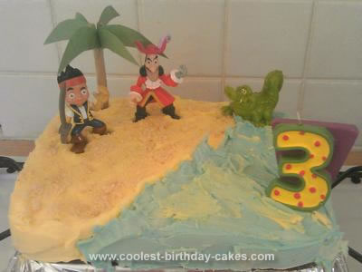 Homemade Jake and the Neverland Pirates Treasure Island Cake