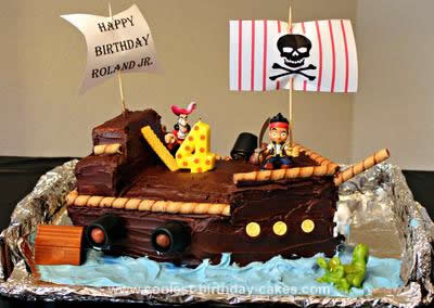Homemade Jake & the Neverland Pirate Ship Cake
