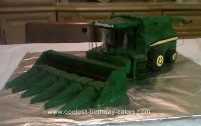 Homemade John Deere Combine Birthday Cake