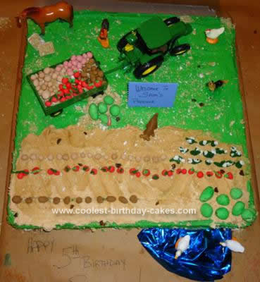 Homemade John Deere Farming Birthday Cake