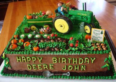 Homemade John Deere Tractor Cake