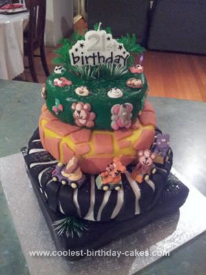 Homemade Jungle 21st Birthday Cake