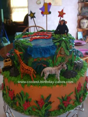 Surprising Coolest Jungle Birthday Cake Personalised Birthday Cards Bromeletsinfo